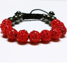 fashion! red 10mm 11x Crystal Disco Ball beads shamballa bracelet . handmade cheap bracelets for women Free Shipping!(China)