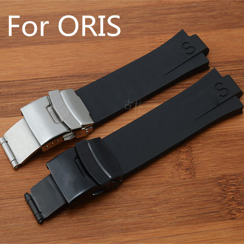 1:1 Original 24mm*11mm  Black Waterproof Silicone Rubber Watchband Watch Strap Bracelet For ORISWatch With Logo With Clasp<br>