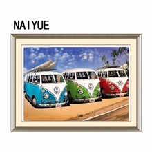 NAIYUE 30*40cm DIY 5D Diamond Painting Cross Stitch Red Blue Green Bus Embroidery Decorative Craft Home Decor