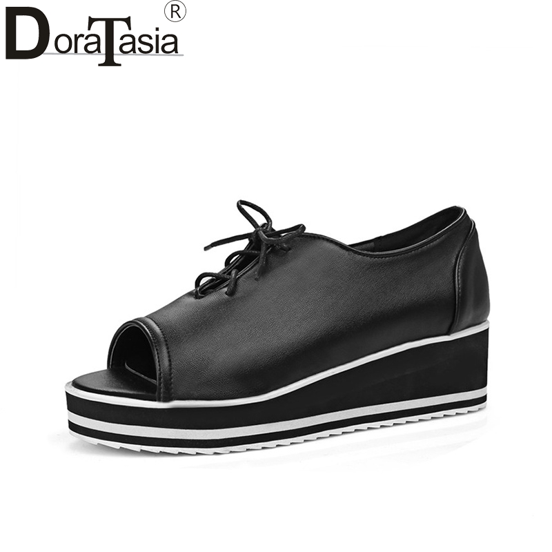 DoraTasia 2018 Spring Summer Large Size 30-43 Platform Shoes Woman Open Toe Lace Up Sweet Women Shoes Casual<br>