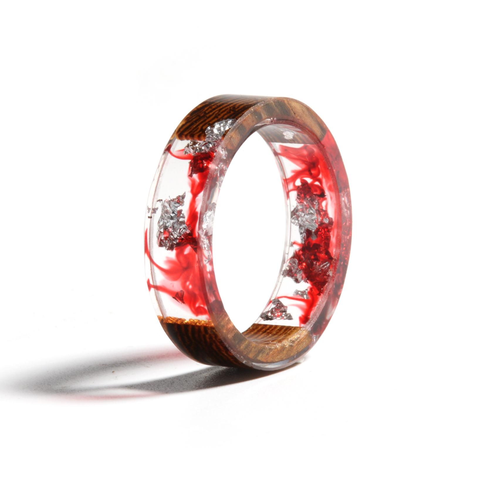 Clear Wood Resin Ring Handmade Dried Flower Hand Jewellery 14