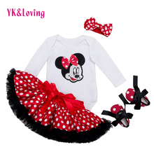 Cotton Fashion Baby Girl Clothes Sets white Long Sleeve Romper Dot Tutu Skirts with Bow Headband Shoes Infant Clothing 0-2 years(China)