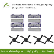 New 8 Hepa Filter +4 Side Brushes Accessory Kits for Neato Botvac 85 70e 75 80 series Robotic Vacuum Cleaners Robot High Quality