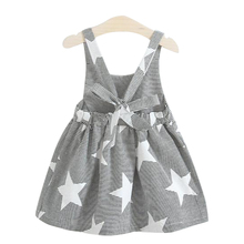 Babyinstar Summer Dress Girl 2017 New Kids Dresses for Girls Star Print Backless Bow Party Dress Baby Costume Brand Girl Dress