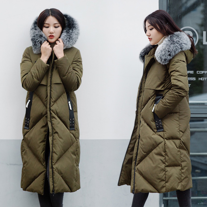 all match white duck down female high quality luxury fox large fur collar thickening over knee Coat XHSD-4017Одежда и ак�е��уары<br><br><br>Aliexpress