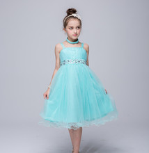 2017 Cute toddler Kids Trendy Clothes Children's Princess Purple Red Coral Purple Turquoise Dresses  for 3 To 12 Year Olds Girls