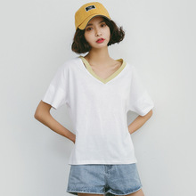 summer Casual t-shirt women loose 100% cotton short-sleeve V-neck hole t shirt woman white t-shirts A889(China)
