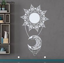 Bohemian Sun Moon Vinyl Wall Decal Indian Style Mandala Decals Home Decoration Accessories Natural Living Room Art Mural SYY285(China)