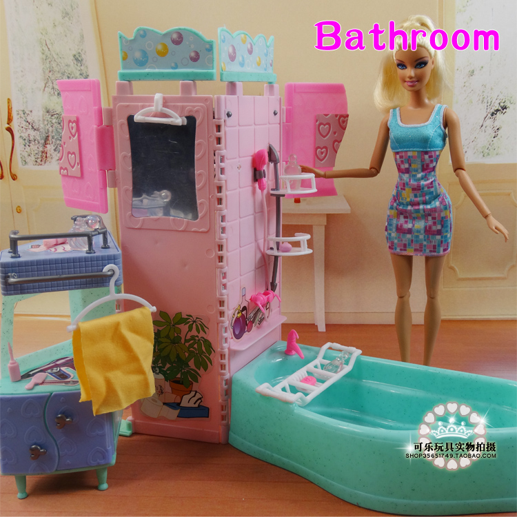 New arrival Summer swimming toys DIY doll bathroom tub For barbie Doll 1/6 Doll Accessories doll house Furniture set <br>