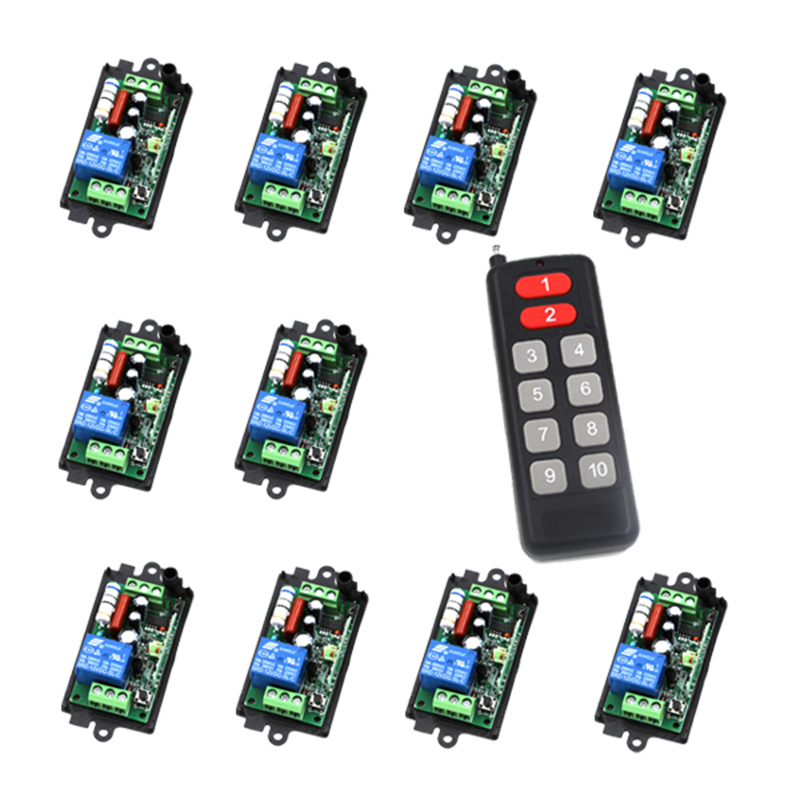 220V 1CH 10A 10 Receiver &amp; 1 Transmitter RF Wireless Remote Switch Momenrary Toggle Latched Adjustable 4009<br>