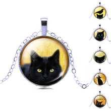 Vintage Jewelry Silver Color Glass Cabochon Cat Pattern Necklace Pendant for Women Wedding