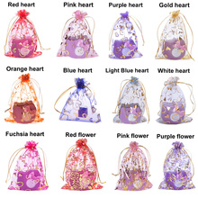 17x23cm Wholesale Organza Bags  Organza Drawstring Pouches Gift Jewelry Packing Wedding Bags,gold heart and rose flower ,100pcs