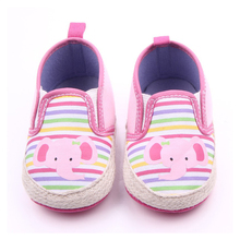 Cute Elephant Baby Shoes Girls Comfortable Canvas Baby First Walkers Shoes Baby Moccasins Sneakers 0-15M F10