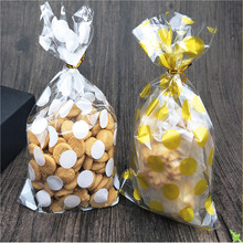 100pcs/lot 13 X 21 cm Golden dots candy bag cookies diy Gift Bags for Christmas Party Candy Food&Handmade soap Packaging bags(China)