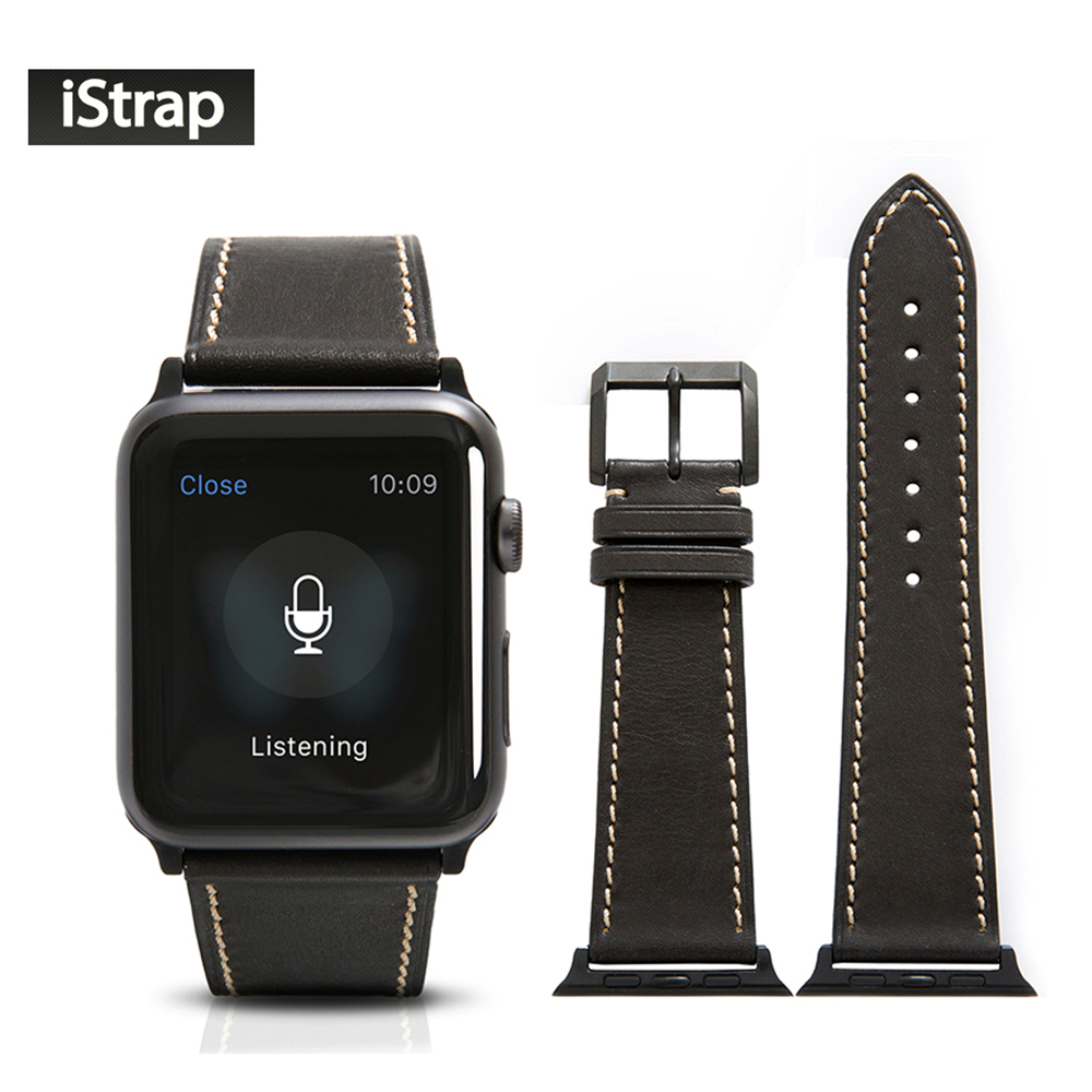 Black Watch Strap Leather For Apple Watch 42mm Sport Edition High Quality Replacement Band For iWatch Series 1 and 2 and 3<br>