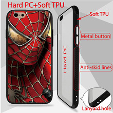 Marvel Design Spiderman Patterned Case For iPhone 6 6S Cover high quality back PC+TPU Side phone cases anti-skid lines design(China)