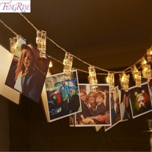 Buy FENGRISE 1.2M 10 LED Photo Clip String Lights Romantic Wedding Decoration Fairy Light Christmas Decor Birthday Party Favors for $2.80 in AliExpress store