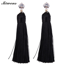Miwens Brand 2016 Fiber Tassel Long Drop Earrings For Bridal Women Gold Brush Bohemia Fashion Wedding Party Jewelry E76