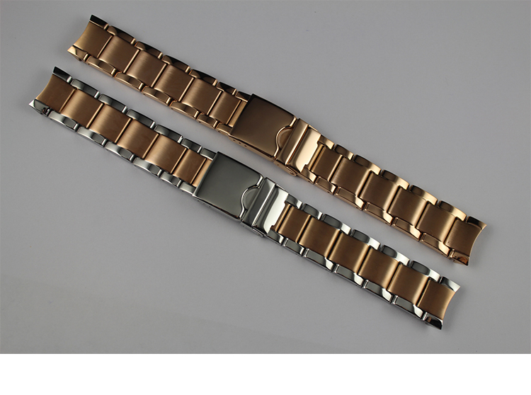 19mm T095417A Watchband Watch Parts male strip Solid Rose Gold Stainless steel bracelet Folding Buckle strap For T095<br>