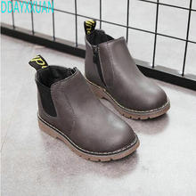 2017 Autumn Winter New Handmade Comfortable Girls Boots Leather Martin Boys Boots Fashion Kids Boots Children Shoe(China)
