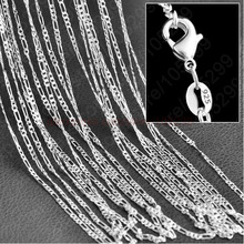 "10pcs/lot Wholesale Silver Necklace Chain,2mm 925 Jewelry Silver Plated Figaro Chain Necklace 16""-30"",pick length!(China)"
