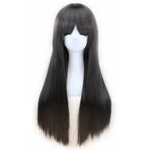 QQXCAIW Long Straight Cosplay Black Dark Brown Light Brown Blonde613# Wine Red 70 Cm Synthetic Hair Wigs