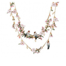 CSxjd Luxury design cherry blossoms flowers Garden birds necklace multilayer necklaces Sweater chain women(China)
