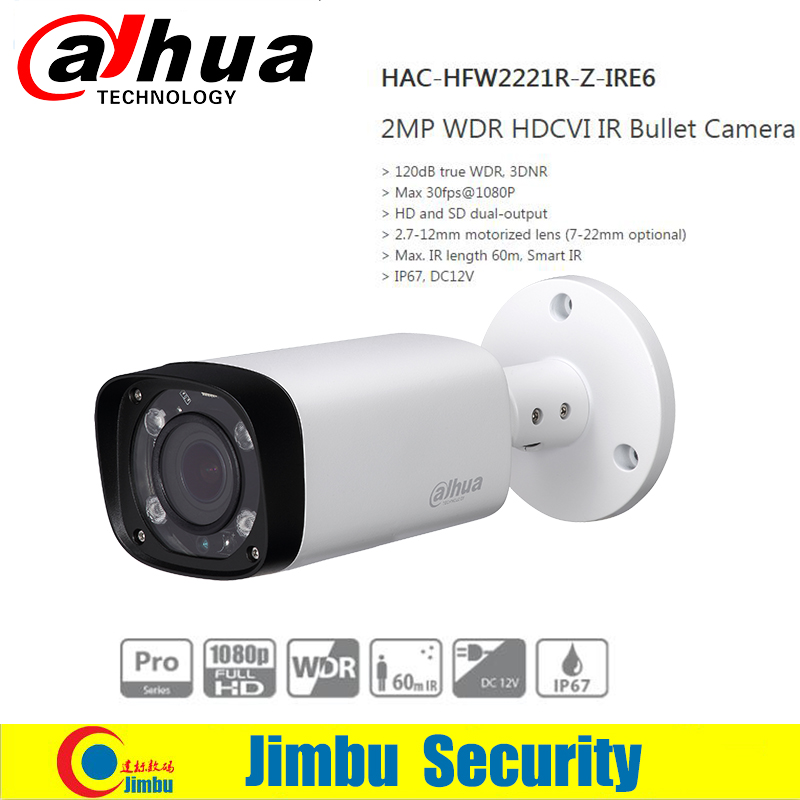 DAHUA HDCVI Bullet Camera 2MP 1080P CMOS IR 60M IP67 2.7~12mm varifocal motorizlens HAC-HFW2221R-Z-IRE6 security CCTV camera<br><br>Aliexpress