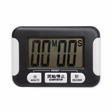 Digital Timer Alarm Clock Practical Kitchen Cooking Backing Timer Electronic With LCD Large Screen Plastic Countdown Black