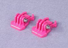F06708 2Pcs Quick-Release Flat Surface Buckle Mount Plastic QD Basic Clip Pink for Gopro Camera(China)