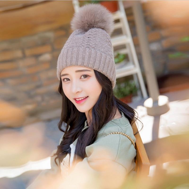 New Mink Fox real Fur Pom Pom Wool Beanie Hats For Women Girls cute Twist Knitted Winter caps female 15cm Pompom Hat ZXM-JY-151Одежда и ак�е��уары<br><br><br>Aliexpress