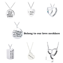 "Engraved ""i pick you, I love you more, you are my person, be(you)tiful"" Love Heart Pendant Necklace Valentine's Day Gift"