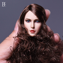 1/6 Scale European Woman Head Sculpt with Brown Curly Long Hair for 12 Inches Action Figures Bodies Collections Figure Accessori(China)