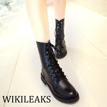 2017 Flat Knee High Winter PU Leather Boots Designer Riding Women Shoes Platform Booties Sexy Mujer Lace Up Zapatos Mujer WC012