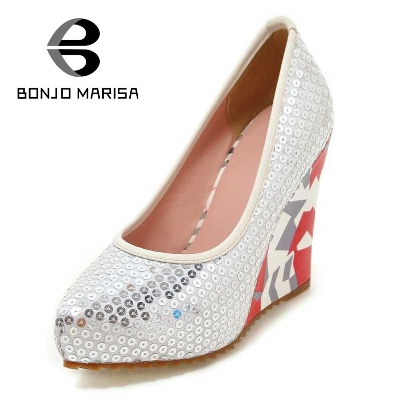 BONJOMARISA Big Size 33-43 Fashion Women Geometry Shinning Glitter Upper High Heel Wedge Shoes Party Wedding Platform Pumps<br>
