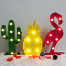 3D LED Night Light Flamingo Pineapple Cactus Night Lamp Romantic Table Lamp Marquee Home Christmas Decor Battery LED Nightlight(China)