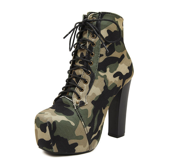 Camouflage Lace High Heel Women Boots Square Cotton Army Boots Military Combat Tactical Thick Heel Ankle Shoes Size 35-40<br>
