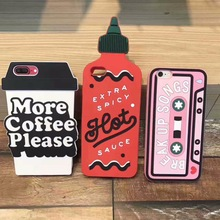 ZMASI 3D Coffe Cup Spicy Sauce Bottle Cell Case for iPhone 7 6 6s plus Funny Soft Silicone Gel Back Case Funda Cover