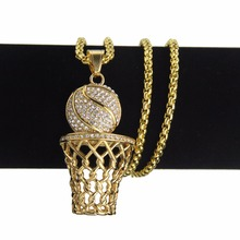 Stainless Steel Hiphop Iced Out Bling AAA Rhinestone Basketball Pendant Necklaces Fashion Sport Hip Hop Necklace Dropshipping(China)