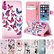 For Apple iPhone 5C Case Leather Wallet Phone Case Coque iphone 5C Cover 3D Relief Flip Case Cute Cartoon Flower Butterfly Cover