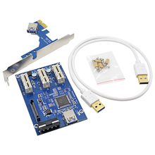 Professional VER005 PCI-E to 3 PCI-E 1X Slot Riser Card ITX to external 3 PCIe Adapter Multiplier Card + 60CM USB 3.0 Cable