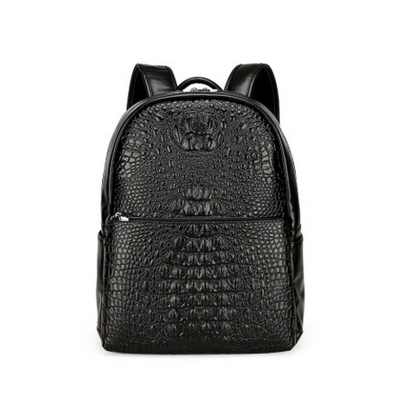2017 fashion retro man crocodile pattern business backpack high quality leather material designer luxury backpack Koreanbackpack<br>