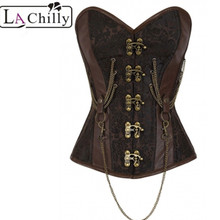 La Chilly hot 14 Steel Bone Steel Bone Overbust Corset Hourglass Chained Brown Steampunk Corset Espartilhos E Corpetes LC50014(China)