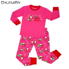 CHUNJIAN baby christmas pajamas baby santa claus sleepwear children printing 100% cotton pink hello kitty cars pyjamas
