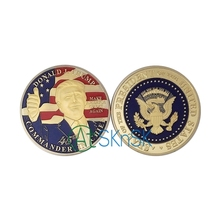 10pcs/lot Golden Donald Trump Make Great President America Commemorative Challenge Coin For Souvenir American Coin free shipping(China)