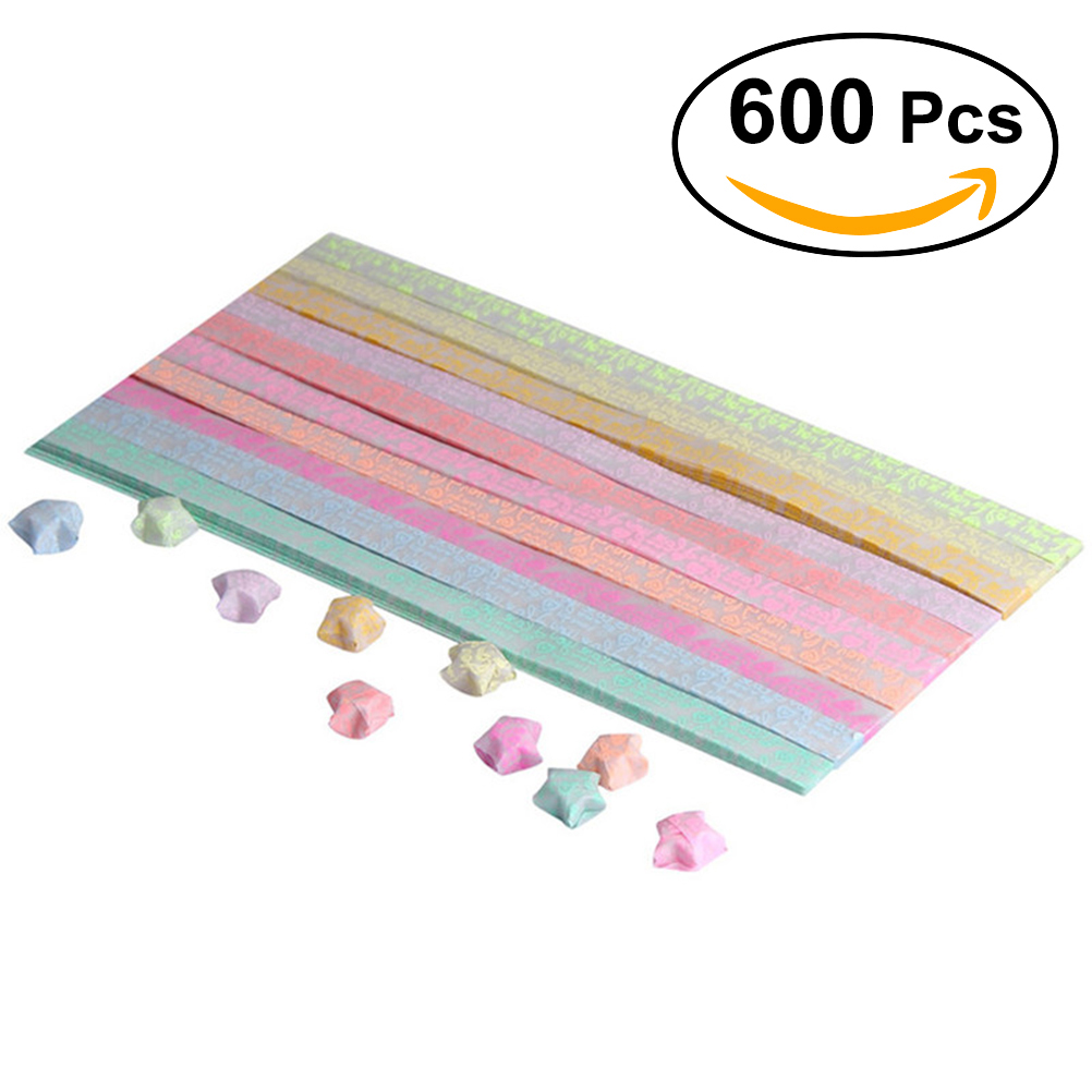 600pcs Luminous Handcraft Origami Lucky Star Paper DIY Strip Folding Golw Dark Home Wedding Party Decor