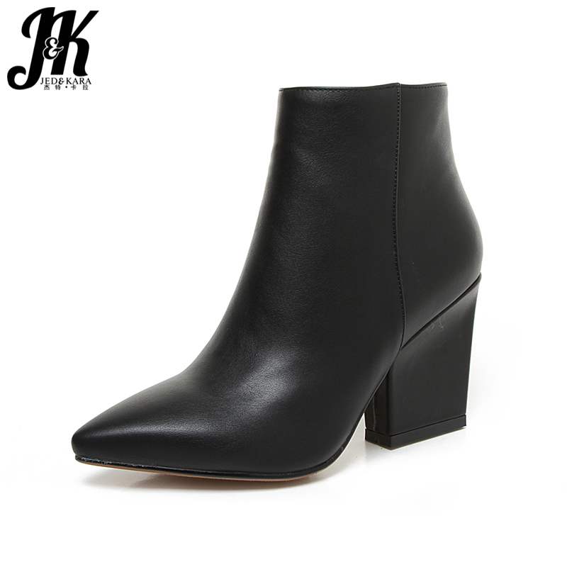 JK Mature Pointed Toe Ankle Boots 2018 New Arrival Autumn Winter Boots Womens High Heel Shoes Add Fur Side Zip Female Footwear<br>