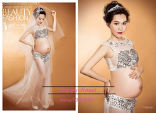 New Pregnant women Photography Fashion Props Dress Pregnancy white set Romatic see-through personal Baby Shower portrait fashion
