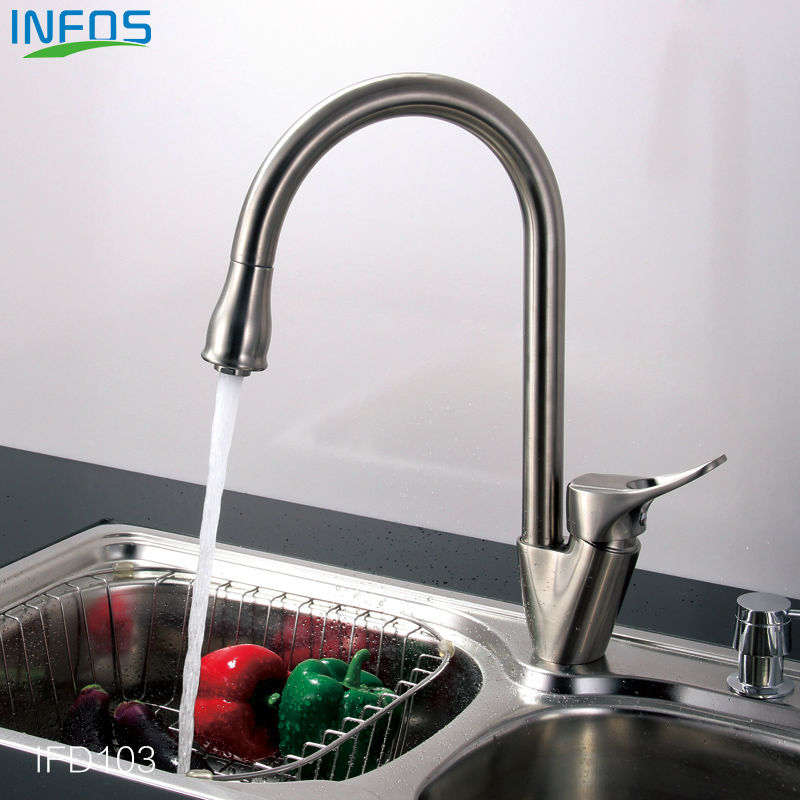 Brass Spray Rotary Kitchen Faucet Brushed Pull Out Sink Water Tap Deck Mounted Single Hole Mixer grifo osmosis IFD103<br><br>Aliexpress