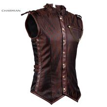 Charmian Plus Size Victorian Gothic Retro Steampunk Vest Spiral Steel Boned Stripe Brown Waistcoat with Chain